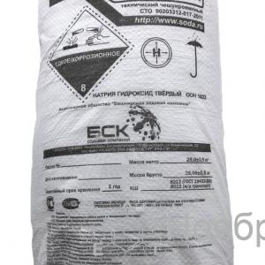 Купить натр едкий чешуированный (сода каустическая) оптом по цене 37 руб. с доставкой по России